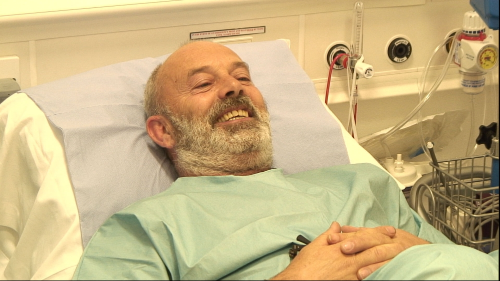 Keith Allen Smiling  Imperial College London for the channel 4 progamme Drug Live Copyright Channel 4