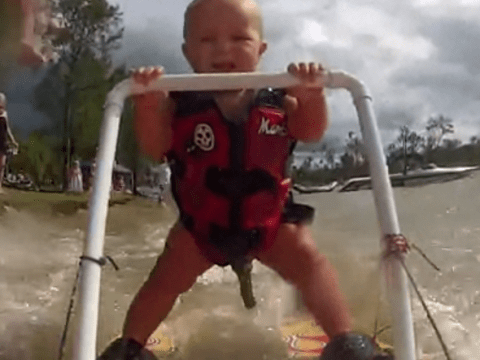 Seven-month-old baby learns to water-ski