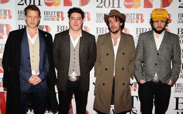 Mumford & Sons (left to right) Ted Dwane, Marcus Mumford, Ben Lovett and Winston Marshall of Mumford and Sons back on the road after Ted's health scare. Pic: Supplied
