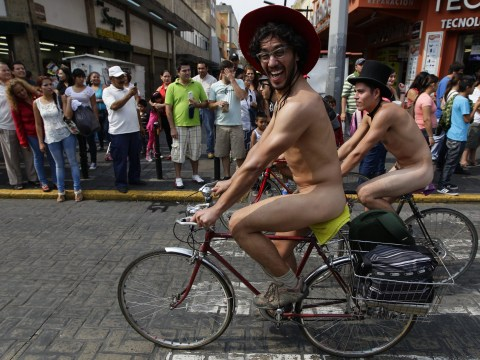 VIDEO: Cyclists bare all for Naked Bike Day