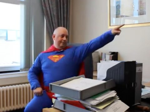 NHS boss dresses as Superman to inspire hospital staff… but not all see funny side