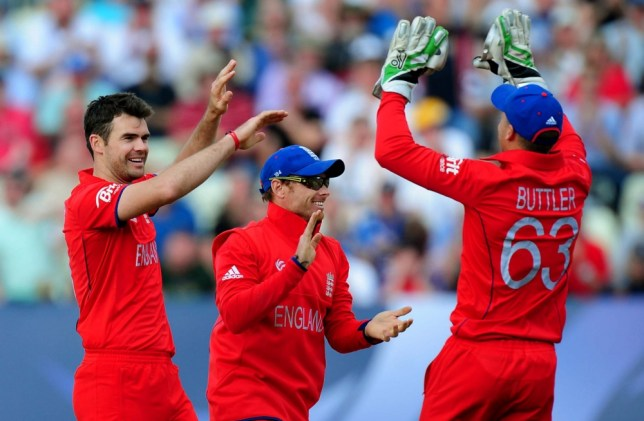 England's James Anderson (left)  celebrates with Ian Bell and Joz Buttler after bowling Australia's Mitchell Marsh caught Eoin Morgan for 5 runs during the ICC Champions Trophy match at Edgbaston, Birmingham. PRESS ASSOCIATION Photo. Picture date: Saturday June 8, 2013. See PA story CRICKET England. Photo credit should read: Rui Vieira/PA Wire. RESTRICTIONS: Use subject to restrictions. Editorial use only. No commercial use. Call 44 (0)1158 447447 for further information.