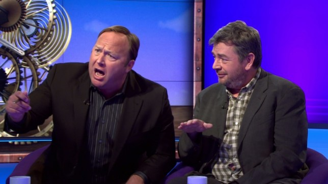"Sunday Politics with Andrew Neil.nnHe describes ranting guest Alex Jones as ""an idiot"" and ""the worst person I have ever interview""nhe kept telling him to ""shut up""nThen Neil mimes lunatic gestures to describe him.nnnnPicture by Pixel8000 07917221968"