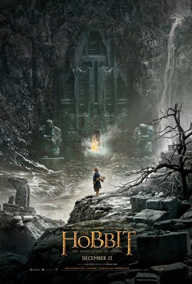 "In this image uploaded on social media by New Zealand movie director Peter Jackson, the poster for ""The Hobbit: The Desolation of Smaug,"" directed by Jackson, is shown. Hobbits, elves and dragons appear to be luring tourists to New Zealand as fans await their first glimpse of the second movie in ""The Hobbit"" trilogy. Warner Bros. announced Monday, June 10, 2013 it will release the first teaser-trailer of ""The Hobbit: The Desolation of Smaug"" at 1 p.m. EDT Tuesday. The second film will premiere Dec. 13 in Los Angeles. (AP Photo/Peter Jackson) MANDATORY CREDIT"