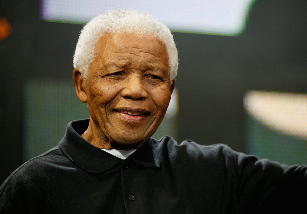 LONDON - JUNE 27:  Nelson Mandela poses onstage during the 46664 Concert In Celebration Of Nelson Mandela's Life held at Hyde Park on June 27, 2008 in London, England.  (Photo by Gareth Davies/Getty Images)