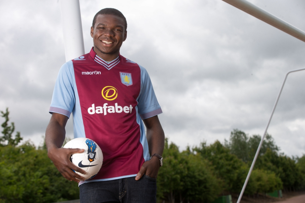 BIRMINGHAM, ENGLAND - JUNE 13: New signing Jores Okore of Aston Villa poses for a picture at the club's training ground at Bodymoor Heath on June 13, 2013 in Birmingham, England. (Photo by Neville Williams/Aston Villa FC via Getty Images)