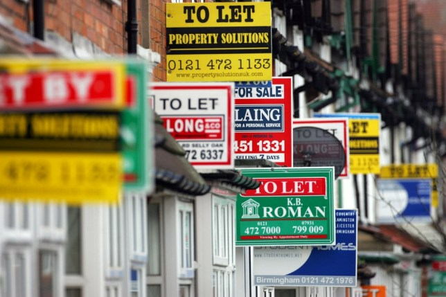 BIRMINGHAM, UNITED KINGDOM - JANUARY 29:  For Sale and To Let boards advertise properties in Selly Oak on 29 January, 2007 in Birmingham, England,  House prices in Britain are to rise by up to 1,000 GBP per month according to think tank The Centre for Economics and Business Research with an increase of up to 7.69%. The price rise will make it increasingly harder for first time buyers with many average earners only being able to rent property.  (Photo by Christopher Furlong/Getty Images)