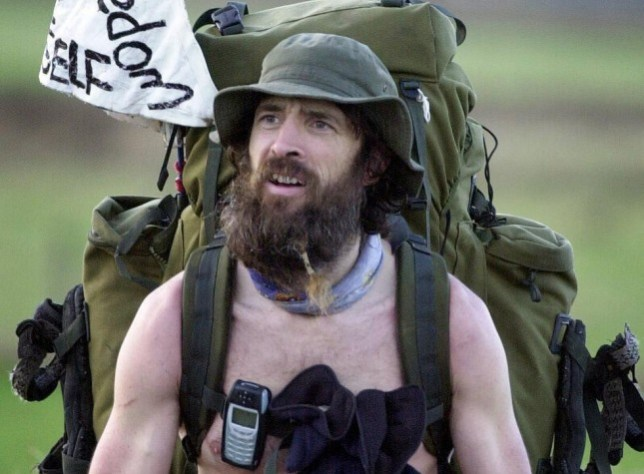 File photo dated 22/01/04 of the 'Naked Rambler' Stephen Gough who will stand trial today accused of breaching an Anti-Social Behaviour Order (Asbo) banning him from being naked in public. PRESS ASSOCIATION Photo. Issue date: Wednesday June 19, 2013. Gough, 53, of Chamberlayne Road, Eastleigh, Hampshire, who denies the charge, is alleged to have breached the order in February minutes after it was imposed by magistrates in Southampton that he must ''wear sufficient clothing in public to at least cover his genitalia and buttocks'' apart from at nudist beaches and at appropriate medical examinations. See PA story COURTS Naked. Photo credit should read: Andrew Milligan/PA Wire