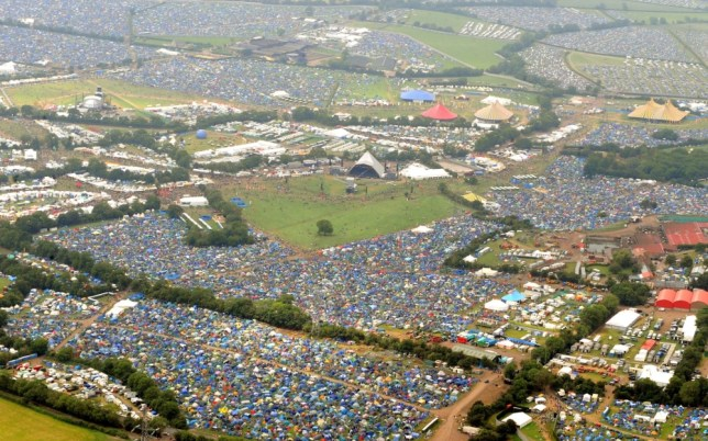 File photo dated 25/6/2009 of an aerial view of the 2009 Glastonbury Festival at Worthy Farm in Somerset. PRESS ASSOCIATION Photo. Issue date: Sunday June 23, 2013. See PA story SHOWBIZ Glastonbury. Photo credit should read: Anthony Devlin/PA Wire