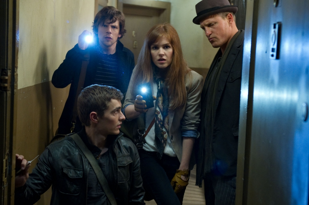 Dave Franco, Jesse Eisenberg, Isla Fisher and Woody Harrelson in Now You See Me (Picture: Barry Wetcher/Summit Entertainment)