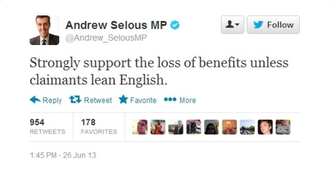 'Lean English', Tory MP Andrew Selous tells benefit claimants