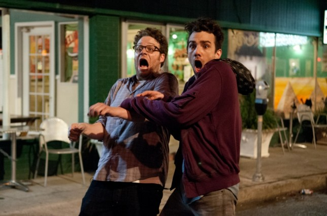 Seth Rogen, left, and Jay Baruchel spot a less than favourable review for This Is The End (Picture: supplied)