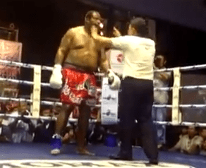 Riddick Bowe comes a cropper on Thai boxing debut