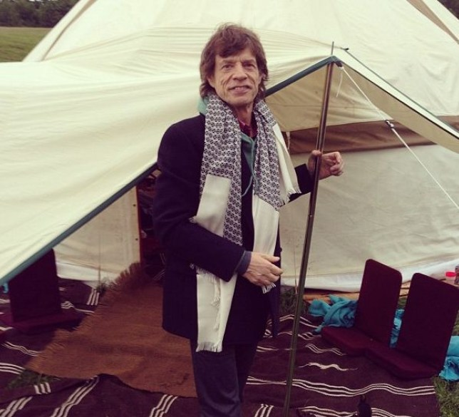 Mick Jagger poses in front of his luxury yurt (Picture: Mick Jagger/Instagram)