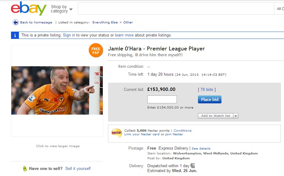 Disgruntled Wolves fan attempts to sell Jamie O'Hara on eBay