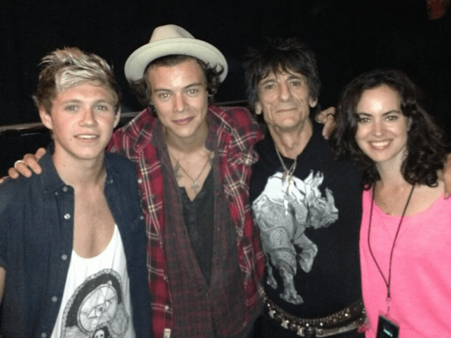 Mega stars: One Direction's Niall Horan and Harry Styles met Ronnie Wood and his wife Sally at a Rolling Stones gig (Photo: Ronnie Wood Twitter)