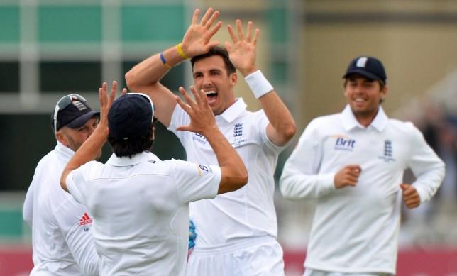 England's Steven Finn celebrates dismiss
