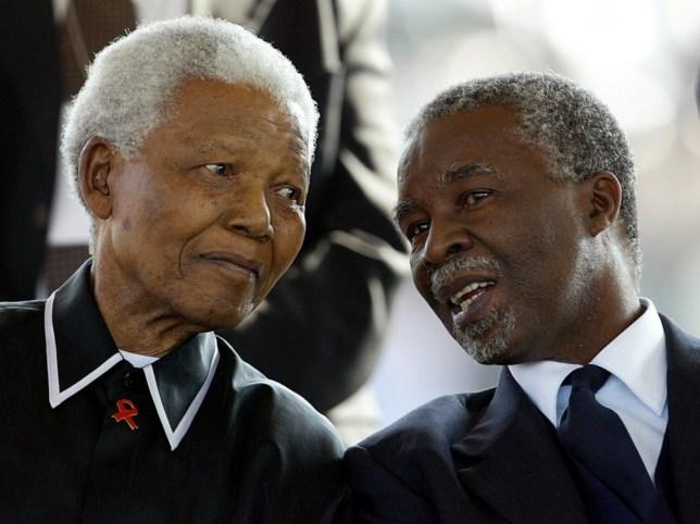 Thabo Mbeki with Nelson Mandela in 2003
