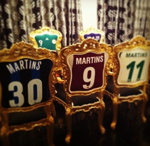 Obafemi Martins has used his old Football shirts to cover his chairs  Taken from Obafemi Martins instagram page
