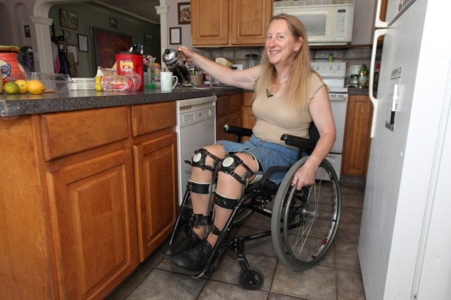***EXCLUSIVE - NO ONLINE USAGE UNTIL 00:01 WEDNESDAY 17 JULY***  SALT LAKE CITY, UT - MAY 16: Chloe Jennings-White pouring a coffee at her home on May 16, 2013 in Salt Lake City, Utah.  Chloe-Jennings White wears leg braces and uses a wheelchair, even though her legs work fine, and she does not need them. The 58-year-old has chosen to live her life as a disabled person, due to rare condition called Body Integrity Identity Disorder, or BIID. BIID is thought to be caused by a neurological failing, which causes the brain not to recognise a limb or limbs. Chloe, a research scientist, bandaged herself secretly for years, but now she lives openly with her condition, using a wheelchair most of time, apart from when she wants to enjoy her hobbies such as hill-walking and skiing. Chloe admits she skis because she hopes to have an accident to damage both her legs. She sometimes even dreams about having a car crash. Now Chloe, who lives in Salt Lake City, Utah, but is originally from London, is also trying to find a surgeon willing to sever her spine in order to make her paralysed for real.  PHOTOGRAPH BY Laurentiu Garofeanu / Barcroft USA  UK Office, London. T +44 845 370 2233 W www.barcroftmedia.com  USA Office, New York City. T +1 212 796 2458 W www.barcroftusa.com  Indian Office, Delhi. T +91 11 4053 2429 W www.barcroftindia.com