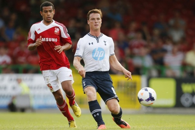 Football - Swindon Town v Tottenham Hotspur - Pre Season Friendly - The County Ground - 16/7/13  Scott Parker of Tottenham Hotspur (R) in action  Mandatory Credit: Action Images / Paul Harding  Livepic