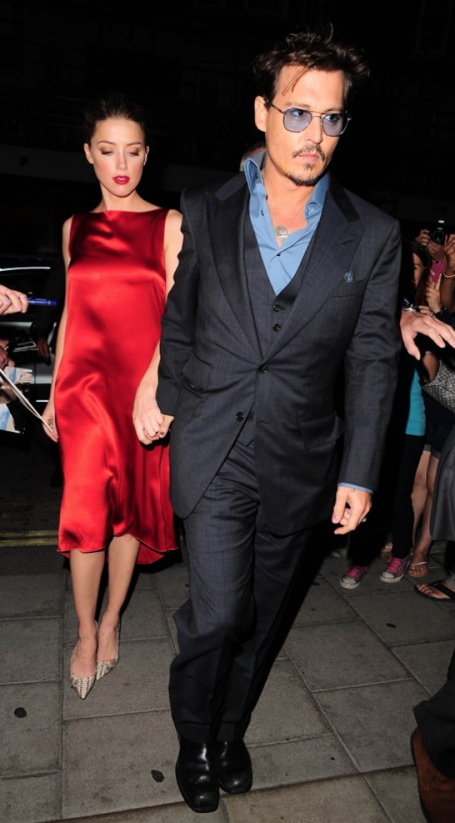 21 July 2013 - LONDON  - UK  JOHNNY DEPP PICTURED ARRIVING AT C RESTAURANT IN MAYFAIR WITH HIS GIRLFRIEND AMBER HEARD  THEY WERE ALSO JOINED BY BRUCE WILLIS AND EMMA HEMING  BYLINE MUST READ : XPOSUREPHOTOS.COM  ***UK CLIENTS - PICTURES CONTAINING CHILDREN PLEASE PIXELATE FACE PRIOR TO PUBLICATION ***  **UK AND USA CLIENTS MUST CALL PRIOR TO TV OR ONLINE USAGE PLEASE TELEPHONE  44 (0) 208 370 0291 or 1 310 600 4723