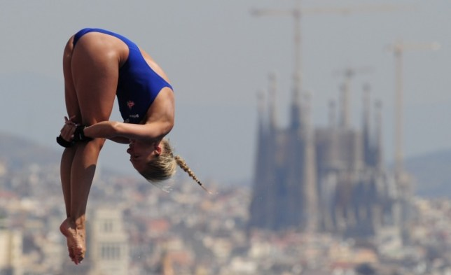 Britain's Tonia Couch competes in the women's 10-metre platform preliminary diving event in the FINA World Championships at the Piscina Municipal de Montjuic in Barcelona on July 24, 2013. AFP PHOTO / JOSEP LAGOJOSEP LAGO/AFP/Getty Images