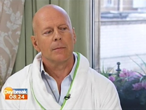 Bruce Willis out-weirds himself as he wears dressing-gown for Daybreak interview