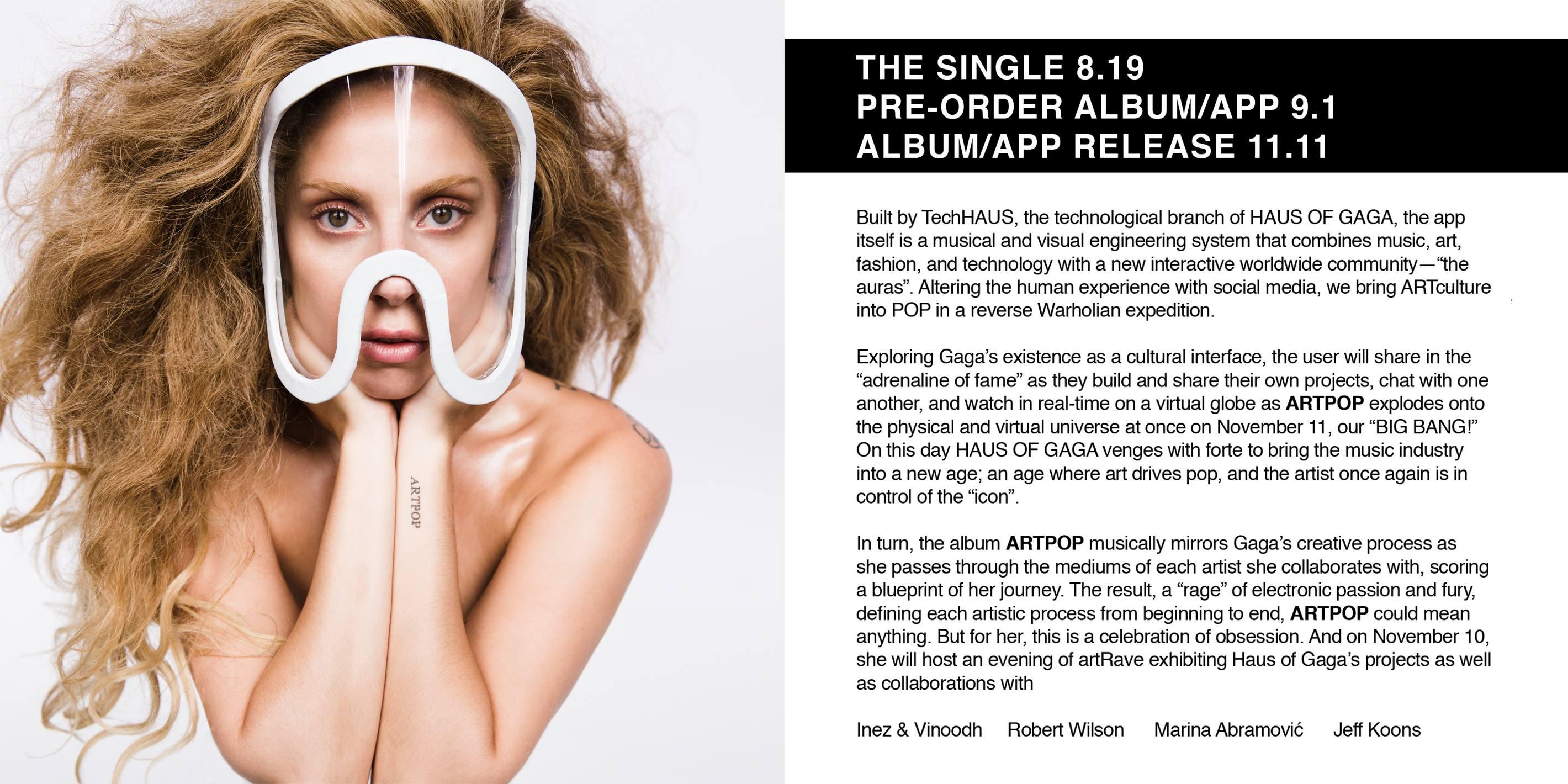 Lady Gaga unveiled details of her new album ARTPOP via Facebook (Picture: Facebook)