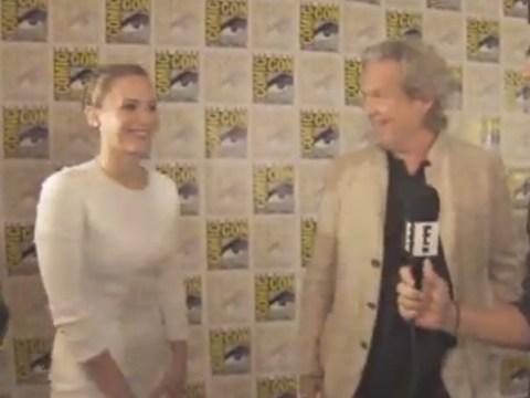 Starstruck Jennifer Lawrence runs into Jeff Bridges and tells him: 'I'm your biggest fan'