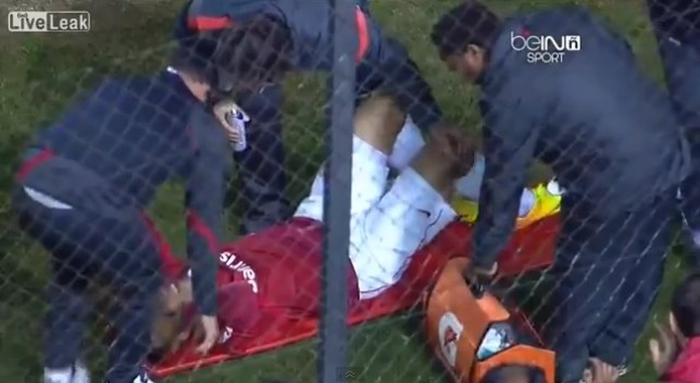 Maurides needed to be stretchered off after his over-elaborate celebration (Picture: YouTube)