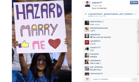 Eden Hazard uses Instagram to firmly reject marriage proposal from Chelsea fan
