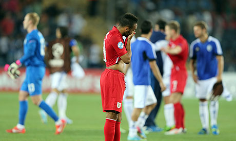 Timid Lions: A dejected Nathan Redmond after the Under-21s side crashed out of Israel 2013. (Picture: Getty)