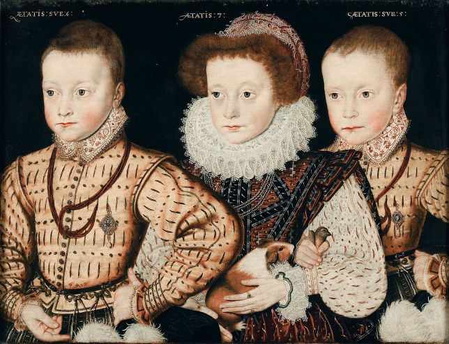 Meet the Glums: Three children and only two pets... but one of those may be the first guinea pig committed to canvas, and coming to the National Portrait Gallery (Picture: PA)