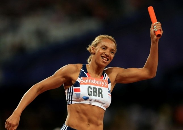 Great Britain's Ashleigh Nelson celebrates winning the 4x100 metres during day one of the IAAF London Diamond League meeting at the Olympic Stadium, London. PRESS ASSOCIATION Photo. Picture date: Friday July 26, 2013. Photo credit should read: Mike Egerton/PA Wire