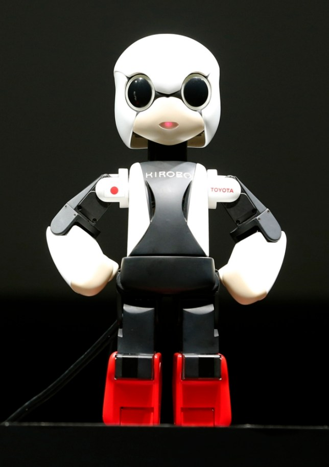 FILE - In this June 26, 2013, humanoid communication robot Kirobo is shown during a press unveiling in Tokyo. The first talking humanoid robot ìastronautî has taken off in a rocket. Kirobo - derived from the Japanese words for ìhopeî and ìrobotî - was among five tons of supplies and machinery on a rocket launched Sunday, Aug. 4, 2013, for the International Space Station from Tanegashima, southwestern Japan, the Japan Aerospace Exploration Agency, or JAXA, said. (AP Photo/Shizuo Kambayashi, File)