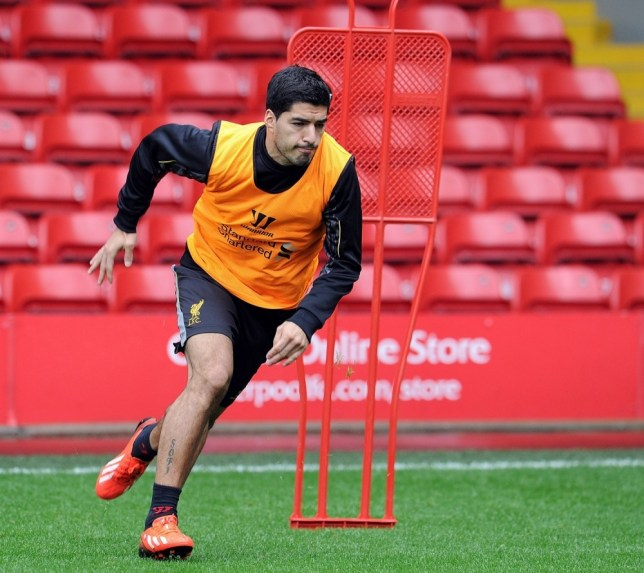 LIVERPOOL, ENGLAND - AUGUST 05:  (THE SUN OUT & THE SUN ON SUNDAY OUT) Luis Suarez of Liverpool in action during a open training session at Anfield on August 5, 2013 in Liverpool, England.  (Photo by Andrew Powell/Liverpool FC via Getty Images)