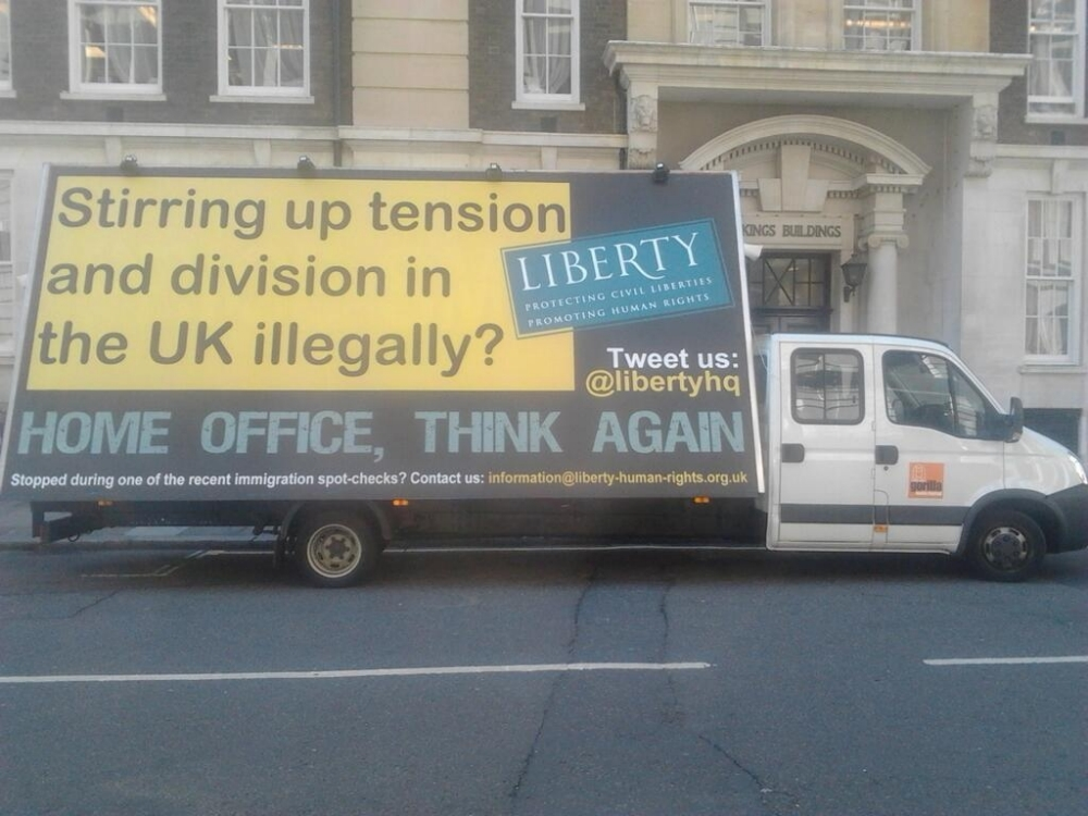 Anti-Home Office billboards driven around Westminster in 'racist van' riposte