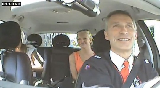 Norway's PM Jens Stoltenberg masquerades as taxi driver to hear voters' views