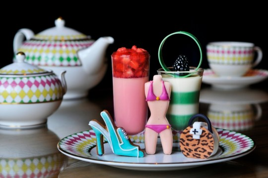 Prêt-à-Portea's afternoon tea selection  includes a honeycomb cream with bees and a shoe-shaped biscuit (Picture: Berkeley)