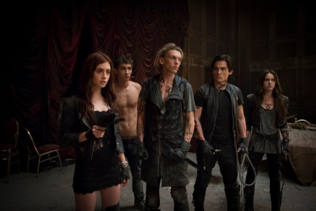 Jamie Campbell Bower with Lily Collins, Robert Sheehan, Kevin Zegers and Jemima West in Mortal Instruments (Picture: supplied)
