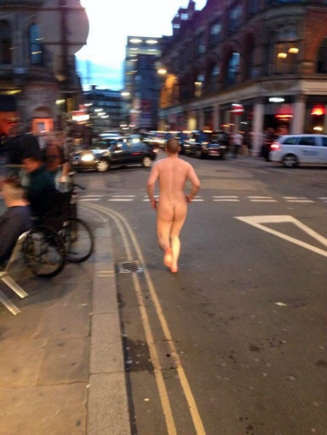 Twitter pic - please credit @brengately27. A man spotted running naked around bars and restaurants in Manchesters trendy Northern Quarter is believed to have fallen to his death down a 50ft hole on a nearby building site. Greater Manchester Police launched an investigation after a manís naked body was found at the bottom of a  lift shaft at the One Smithfield Square site near yesterday afternoon. Detectives believe he is the same man seen by revellers trying to get into Northern Quarter nightspots wearing nothing but socks and trainers on Friday night.
