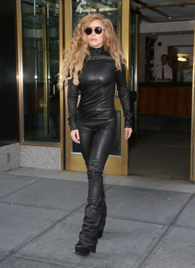 Lady GaGa spotted leaving her apartment in a black leather jumpsuit in New York City <P> Pictured: Lady GaGa <B>Ref: SPL597485  200813  </B><BR/> Picture by: Santi/Splash News<BR/> </P><P> <B>Splash News and Pictures</B><BR/> Los Angeles: 310-821-2666<BR/> New York: 212-619-2666<BR/> London: 870-934-2666<BR/> photodesk@splashnews.com<BR/> </P>