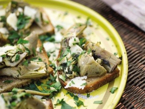 How to make artichoke heart salad and asiago cheese from Italian cookbook Cicchetti