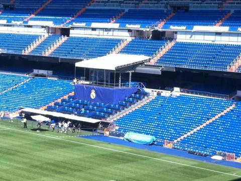 Real Madrid erect infamous 'Galacticos podium' as they prepare to unveil Gareth Bale