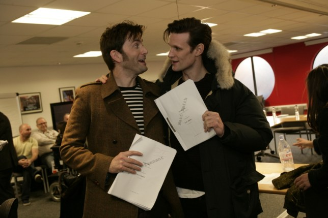 David Tennant and Matt Smith prepare for the Doctor Who 50th anniversary special (Picture: BBC/Adrian Rogers)