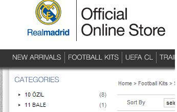 Real Madrid selling Gareth Bale shirts on their official website