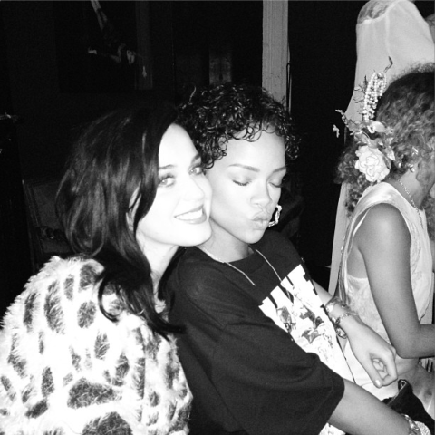 Katy Perry and Rihanna put an end to rumours of a fall-out after partying together at Perry's album bash