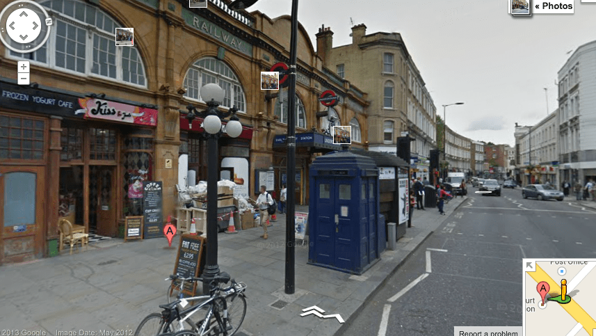 Doctor Who Tardis spotted outside Earl's Court station on Google Maps