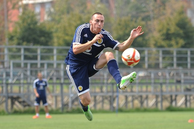 Scott Brown trains in Macedonia (Picture: PA)